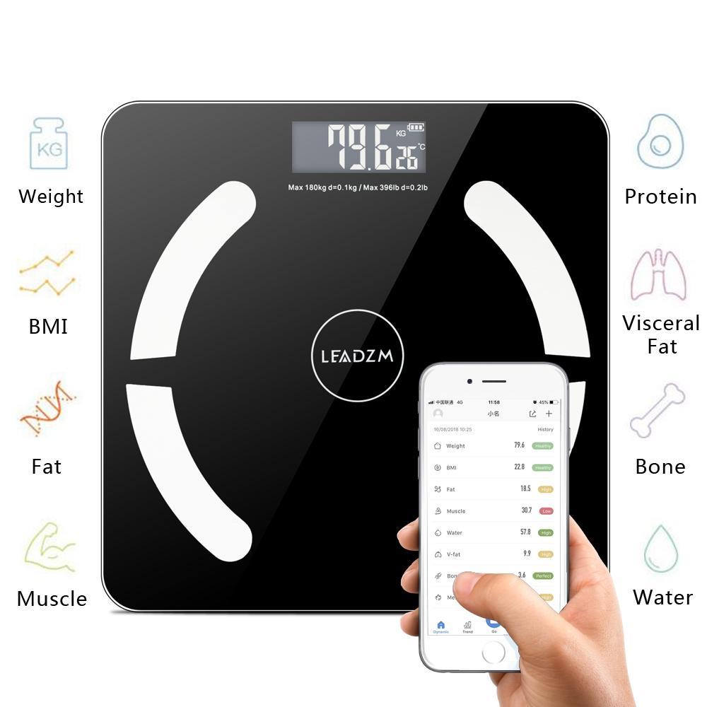 مقياس الحمام بلوتوث مقياس الوزن الذكية الجسم الدهون الموازين الإلكترونية الطابق مؤشر كتلة الجسم مقياس اللياقة البدنية الرقمية 396LB / 180KG البند الساخن