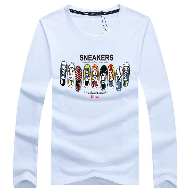 Nouveau Ceci est ME Lettre T-shirt de coton à manches imprimées imprimées T-shirt à manches longues pour hommes Plus Casual Homme T-shirt Taille de la chemise