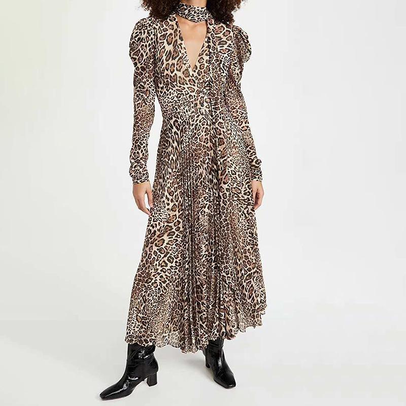 Robes décontractées Léopard Print Femme Robe 2021 Température de la mode Sexy Col V-Col V-Col en V haute taille Femme plissée vêtue 06