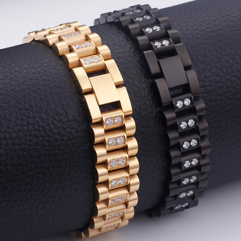 Link, kette gold schwarz edelstahl uhrband armband 16mm luxus voll von cz Einstellung Homme Freundschaft Armbänder fallen