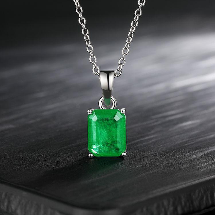 Luxo 925 Sterling Prata Esmeralda Paraiba Tourmaline Gemstone Noivado de Casamento Fine Jóias Pingente Colar Atacado