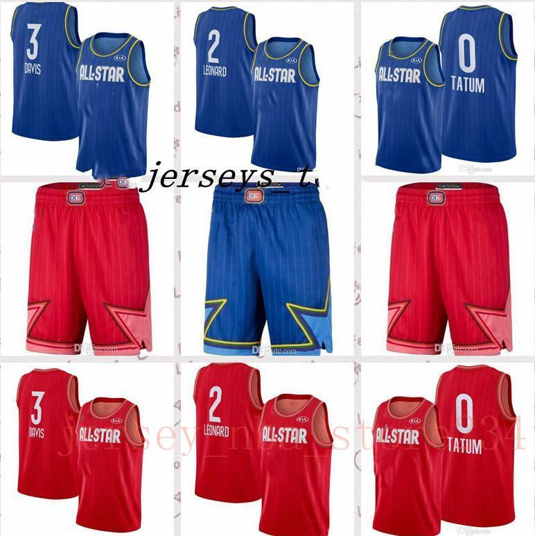 NCAA новый горячий всеStar Jersey Mans Баскетбольные шорты 0 Татум 1 Букер 2 Леонард 3 Дэвис Синий Красный Девин Букер Джерси Каве Леонард J