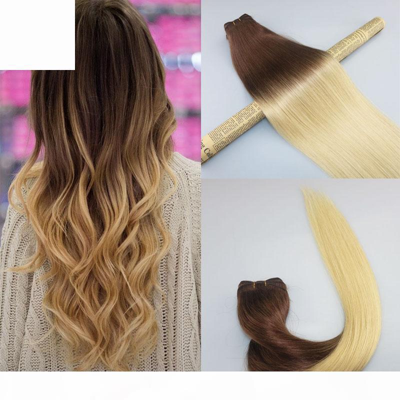 Human Cheveux Tissu Ombre Dye Couleur Brésilienne Vierge Cheveux Bundle Thermot Extensions Deux Ton 4 # Marron à # 613 Blanchiment blonde blanchie