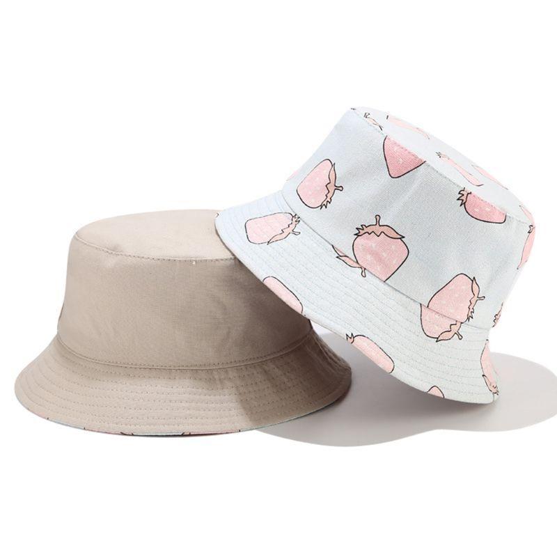 여성 여름 딸기 과일 인쇄 양동이 모자 뒤집을 양면 야외 선 스크린 휴가 패키지 어부 모자