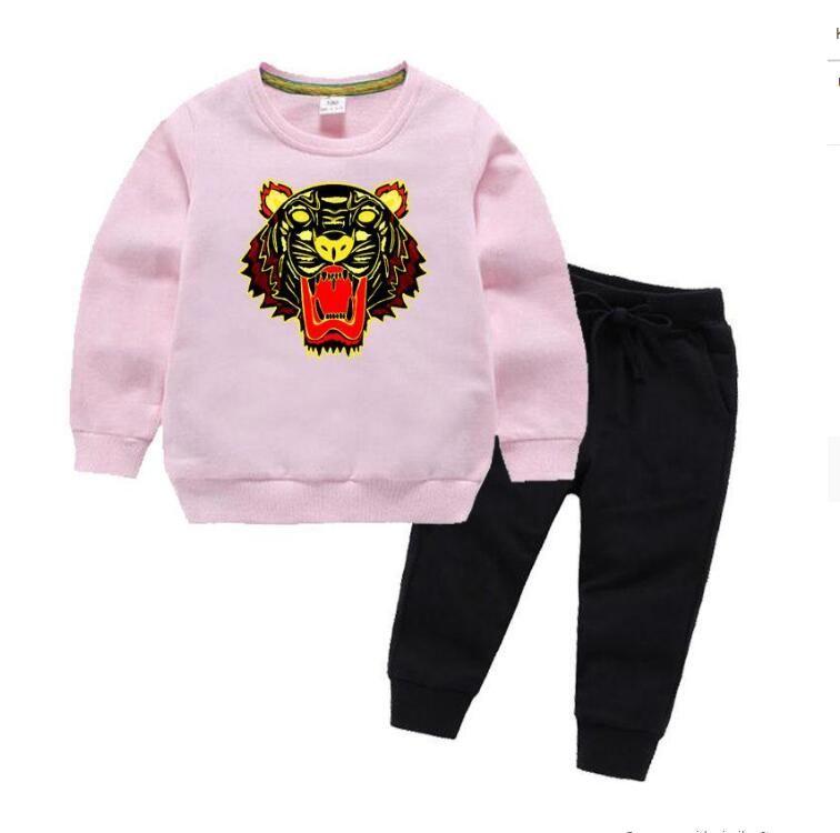 KZ Brand Tiger Baby Boy Designer di Prestigio Vestiti Bambini Set per bambini 2-8T Felpe con cappuccio e pantaloni con scollo o pantaloni 2pcs / Set Ragazzi Ragazze Sprring