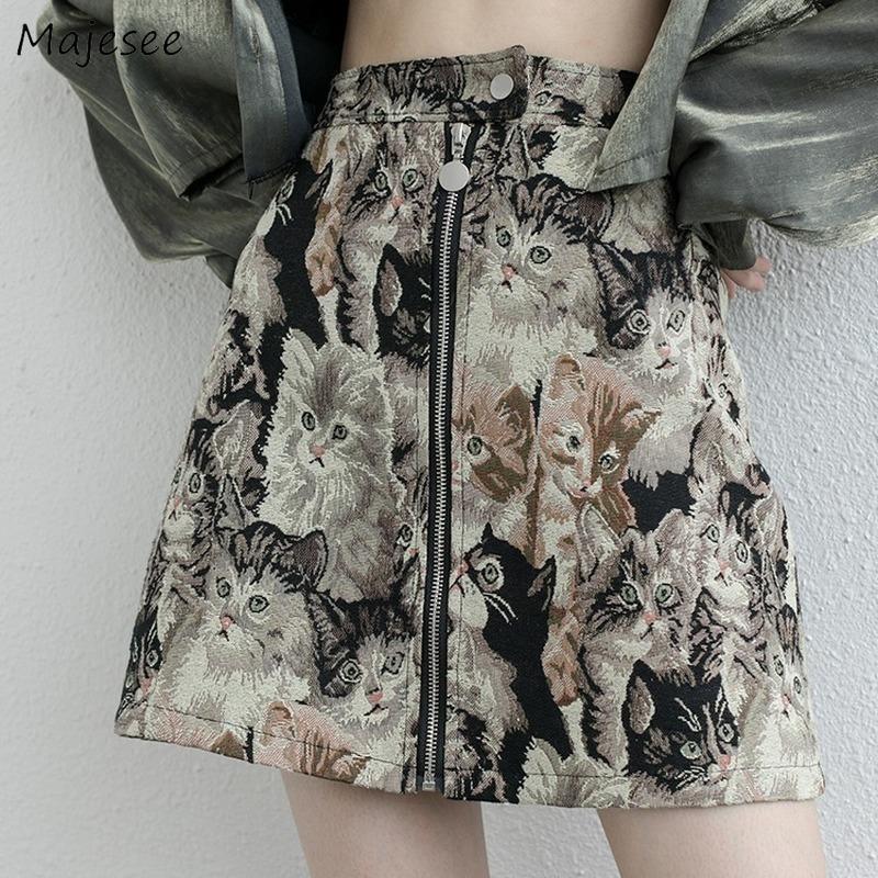 Saias Mulheres Impresso Mini A-Linha All-Match Sexy Zipper Harajuku Estilo Japonês Streetwear Casual Senhoras Elegante Moda Vintage