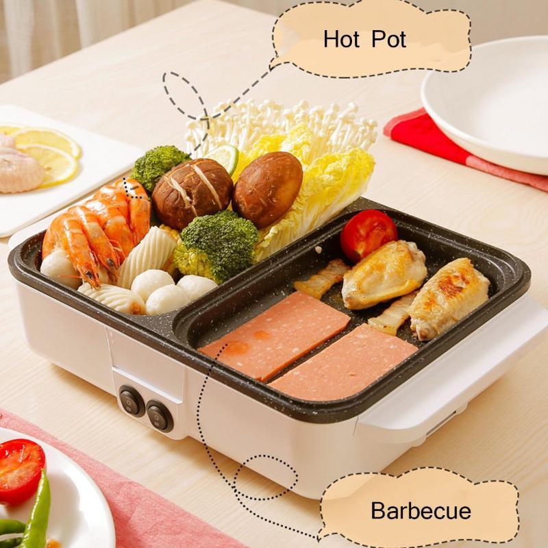 1200 واط 220 فولت 2 في 1mini الكهربائية الطبخ وعاء آلة متعددة طباخ بلوحة الشواء وعاء الساخنة المحمولة غير عصا bbq تدفئة عموم