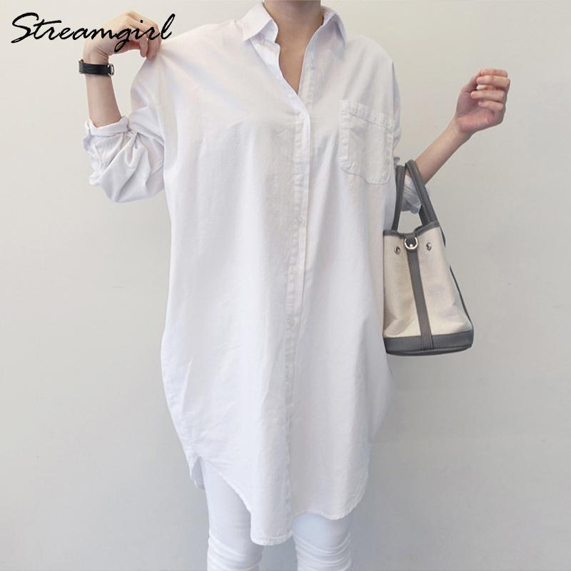 StreamGirl Женская Туника Белая Рубашка Неважает Женщина Свободные Свободный Рукав Парень Корейский Одежда Женщины Офис Блуза Рубашка Белый