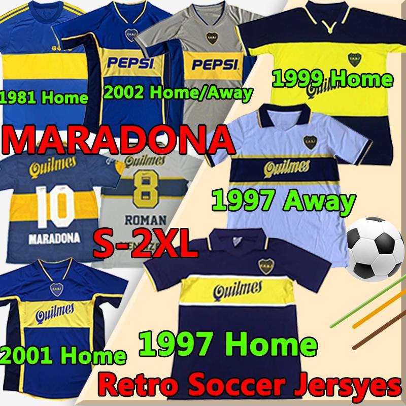 Retro Boca Juniors Fussball Jerseys 1981 1997 1999 2001 2002 Diego Maradona Tévez Gago Vintage Klassische kurze Longsleeves Männer Fußballhemden