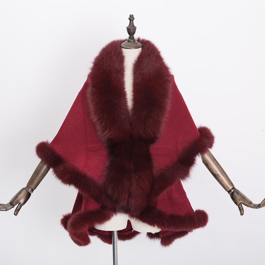 Real New Womens Coat Natural Fox Surround Fur Shawl Fashion Warm Poncho Knitting Cape Cardigan Spring Autumn Winter Jats