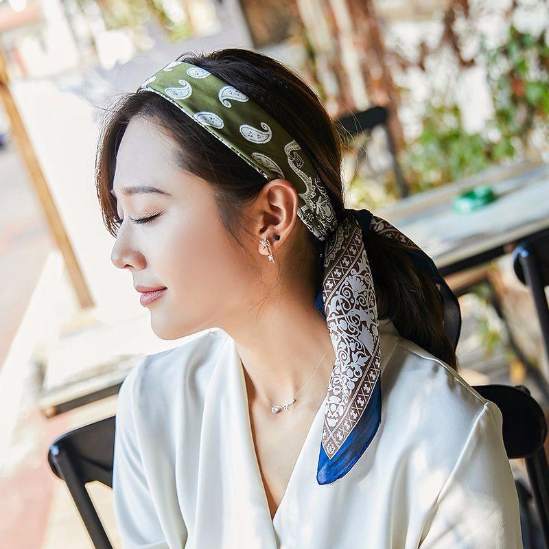 Moda Primavera y otoño versátil Pequeño Seda Bufanda Verano Elegante Pañuelo de cabeza Decorativo de mujer Bufanda de gasa 2502