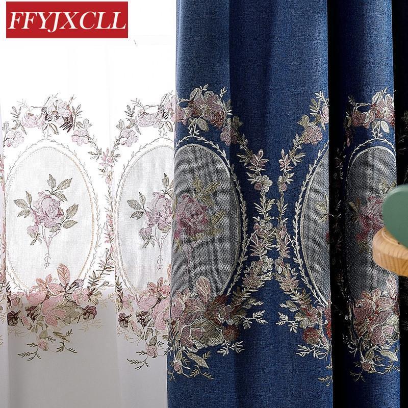 Cortinas de veludo bordadas azuis azuis verdes para a sala de estar cortinas elegantes da janela para cortinas do linho do falso do quarto