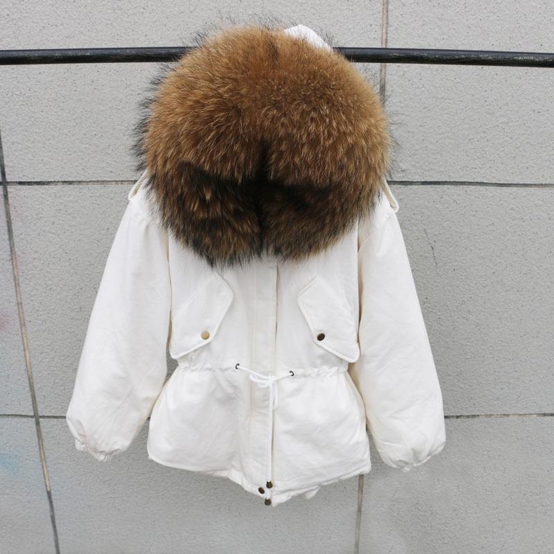 100% Natural Raccoon Fur Collar Winter Jacket Women White Duck Down Coats Warm Thick Parkas Womens Winter Jackets And Coats 201211