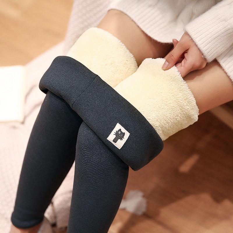 400g chaton Pantalons neuf point Leggings hiver Cachemire épaissie Leggings femme Prêt à porter taille haute Leggings Slim Pantalon noir chaud