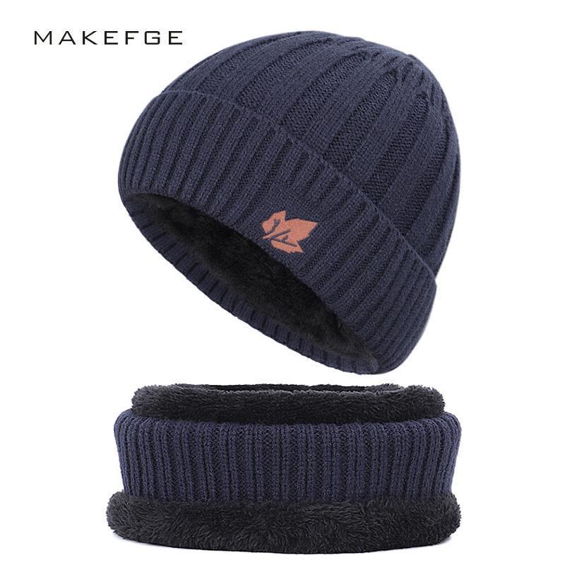 Шапочки / черепные колпачки 2021 мода хлопчатобумажная шляпа Открытый теплый повседневный мужской зимний нагрудник Мужчины и женщины вязаный бархатный толстый шарф горох