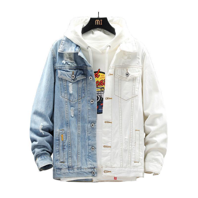 Vestes pour hommes 2021 Mode Design Hommes Simple Broched Denim Manteaux De Denim Blanc Couleur Contraste Bleu Couleur Frayed Jean