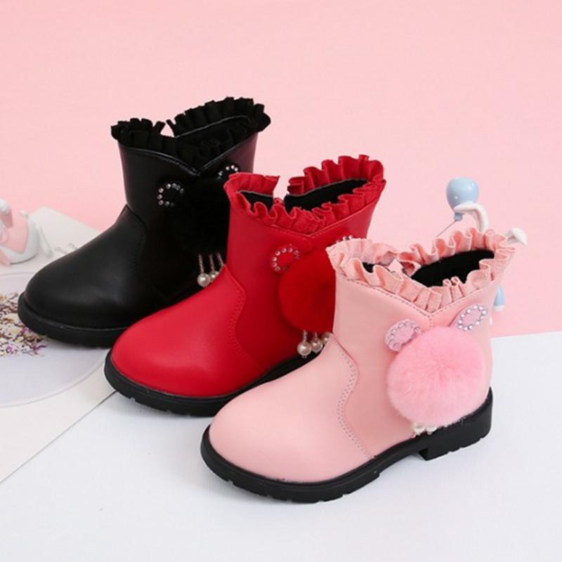Inverno Quente Childs de Pelúcia Botas de Neve Moda Meninas Botas Crianças Sapatos de Inverno Meninas 4 5 6 7 8 9 10-13T Y1125