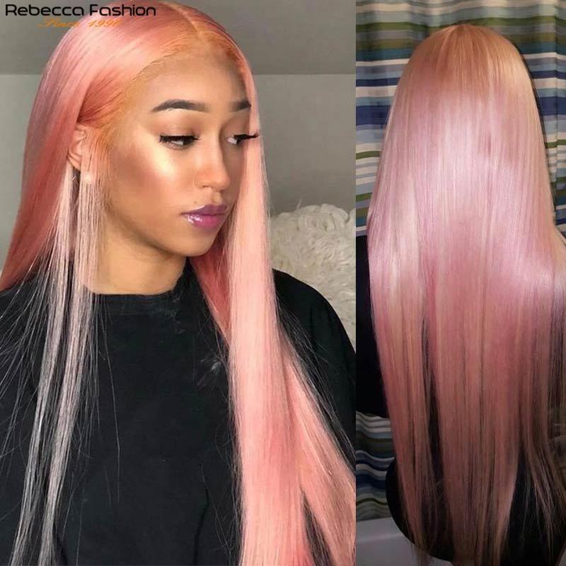مستقيم الشعر البشري الباروكات الوردي الباروكة بيرو ريمي الشعر شفافة الرباط الباروكة الملونة الإنسان الشعر الباروكات 4x4 إغلاق الباروكات