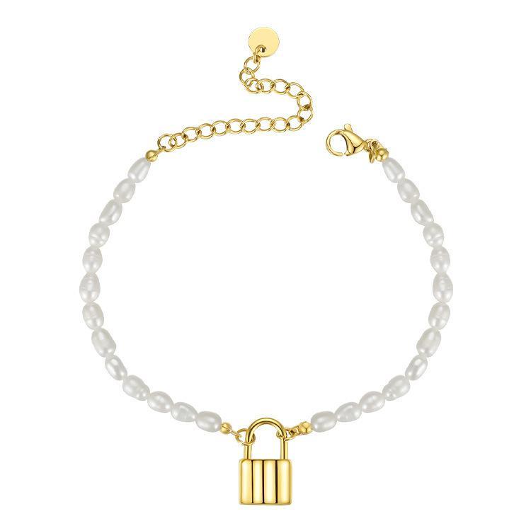 Retro-Lock-Armband, natürliche Perlen, hochwertiger Handschmuck, einfaches Zubehör F1211