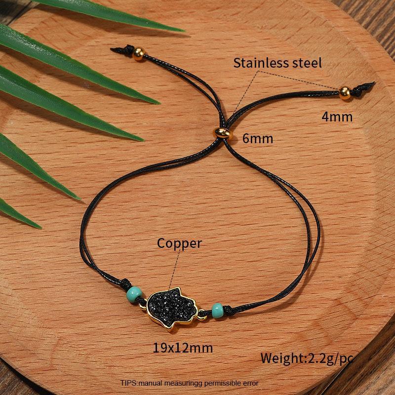 Заводская цена ручной смолы Druzy шарм сплетенные браслеты BOHO для женщин ручной работы красочные восковые веревочки регулируемые браче