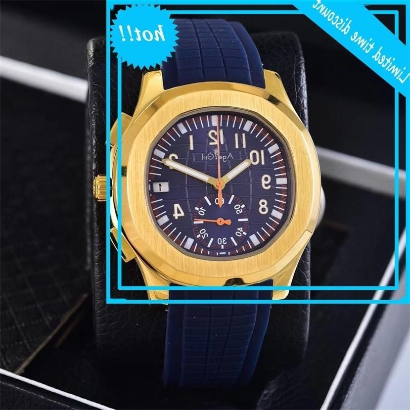Clásico Nuevo Mecánico automático Hombres Amarillo Dorado Azul Sapphire RVS RVS Transparente Glass Black Sports Watch
