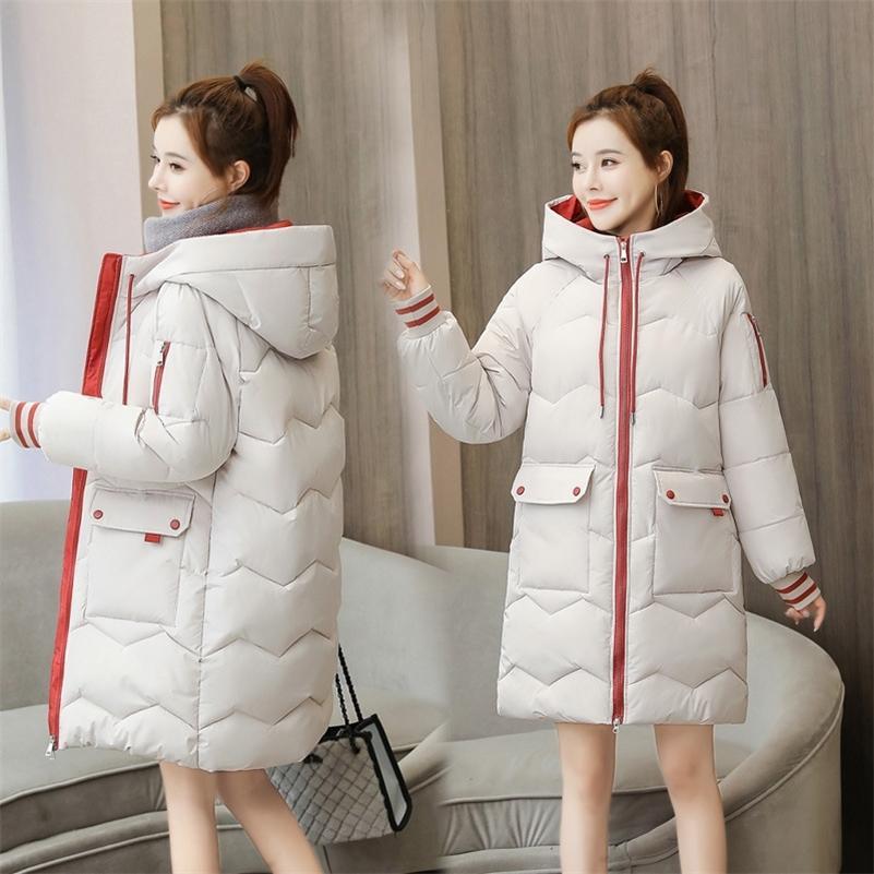 Aşağı Parka Kadınlar Kış Kapüşonlu Sıcak Ceket Artı Boyutu Uzun Kapüşonlu Giysi Gevşek Ceket Renk Kapitone Ceket Ekmek 2008 201215