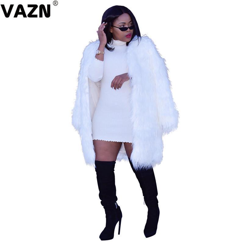 Vazn 2020 Kış Pur Dış Giyim Beyaz Açık Dikiş High-end Zarif Günlük Seksi Genç Tulum Tam Kollu Kadın İnce Uzun Dış Giyim