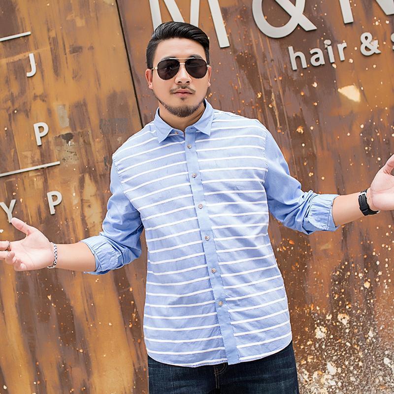 Camicie casual da uomo Plus Size 8xl 7xl 6xl 5xl uomo manica lunga camicia a maniche lunghe grasso a strisce maschio grande gioventù