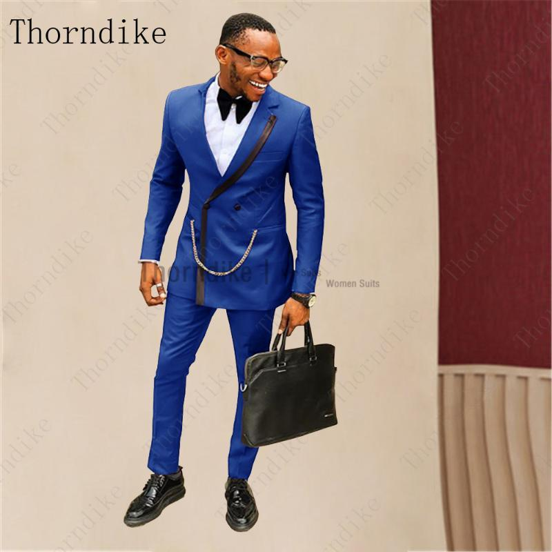 Thorndike Homens Formal Negócio Royal Azul Ternos Único Lapela Dupla Breasted Slim Fit Terno Com Calças Homens Casamento TEno Masculino