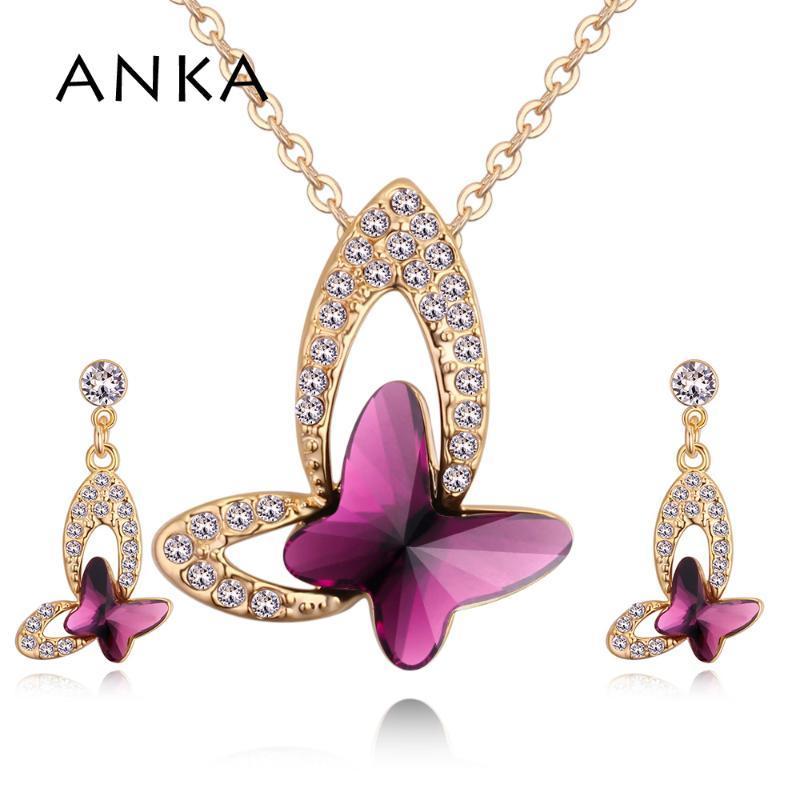 Anka New Butterfly Crystal Grande Femme Bijoux Femelle Ensemble Gold Couleur Collier Collier Boucles d'oreilles Ensemble de cristaux d'Autriche # 130653