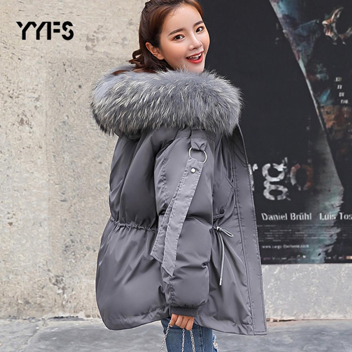 Mulheres inverno jaqueta quente pele quente parkas casaco de inverno fêmea solta parka grande colar de pele destacável algodão acolchoado jaquetas 20116