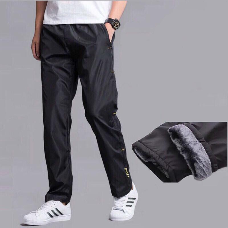 Pantalon de survêtement des hommes Automne plus Velvet Séchage chaude Pantalon lâche en ligne droite résistant à l'usure à l'eau imperméable