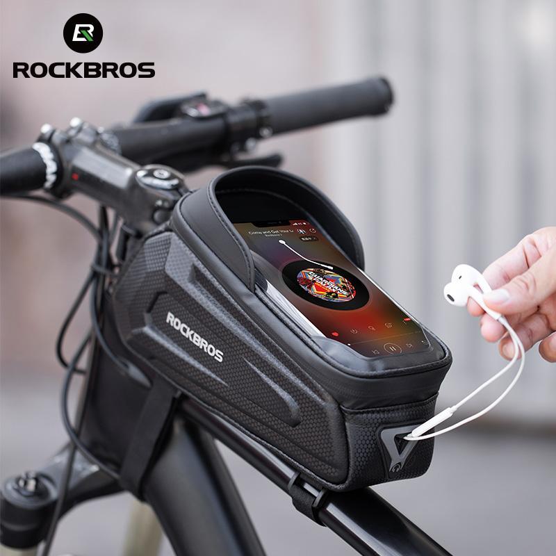 Rockbros تصميم جديد الدراجات الإطار الأمامي 8.0 حالة الهاتف المعطف شاشة تعمل باللمس دراجة حقيبة الدراجة الملحقات