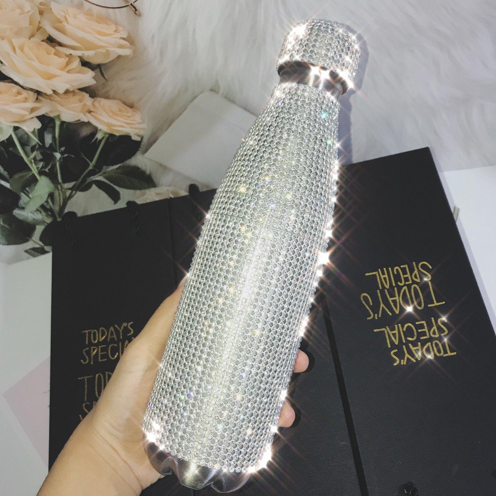 500 ml bouteille d'eau brillante avec strass thermos bouteille de bouteille en acier inoxydable thermos thermos tasse d'argent bouteille d'aspirateur de diamants 201126