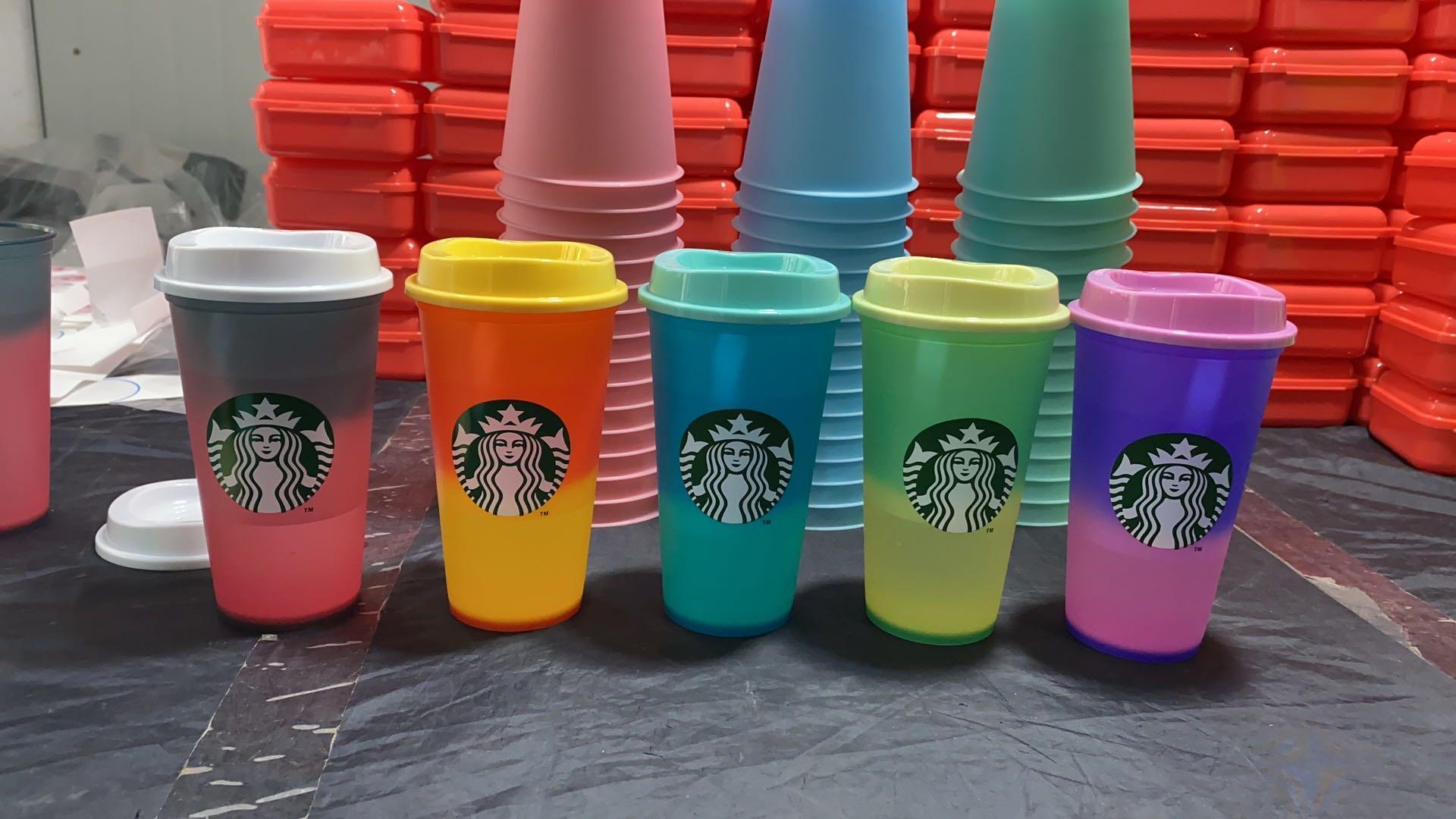 25 pz DHL Free Starbucks 16ozplastic Tumbler riutilizzabile Bere Bere Piano Flat Bottom Tazza Pilastro Forma coperchio Paglia Mug Bardian Decolorazione Varietà di colore