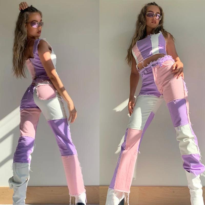 Fnoce Aautumn Tendances Jeune Mode féminine Casual Straight Jeans Multicolore taille haute Pantalons Jeans
