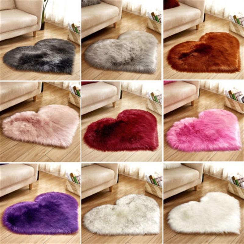 플러시 심장 모양 매트 거실 사무실 모방 양모 카펫 침실 소프트 홈 비 슬립 러그 90 G2