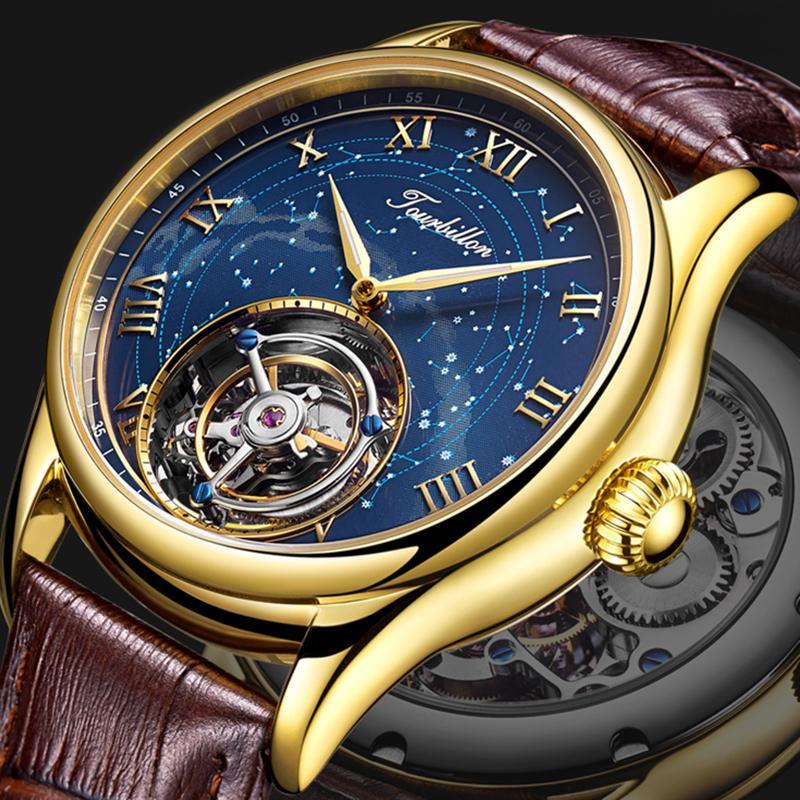 Guanqin 100% Real Tourbillon Uomo orologi orologio meccanico Top Brand Brand Brand Waterproof Sapphire orologi per uomo Relogio Masculino Y1214