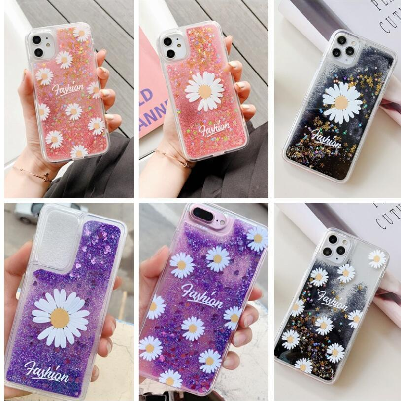 Fashion Popolare Bella bella Margherita Flower Scintillante Paillettes Paillettes Sand Clear Cover Case per iPhone 12 11 Pro X XS Max XR 6 7 8 Plus