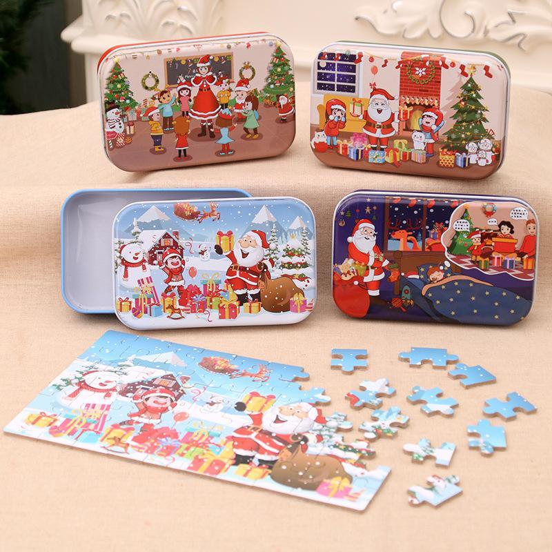 Navidad Puzzle de madera para niños Juguete Papá Noel Santa Claus Jigsaw Navidad Niños Early Educational DIY Jigsaw Kids Navidad Bebé Regalos W-00452