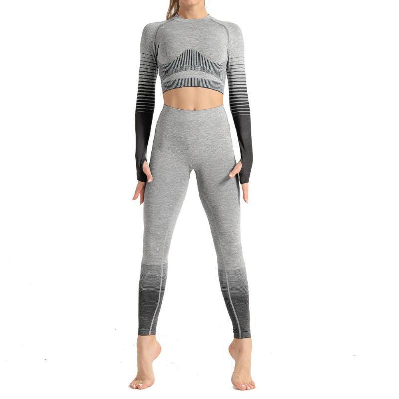 Yoga set sportivo tuta per donna allenamento sportivo outfit fitness set vita alta vita senza soluzione di continuità abiti da donna esattezza