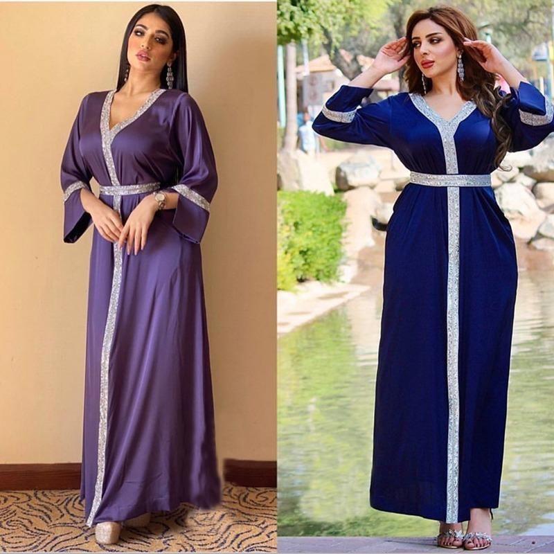 MD Muslim Mode Frauen Türkisch Abaya Dubai Caftan Satin Langes Kleid Elegante Damen Party Diamanten Glänzende afrikanische Roben Boubou