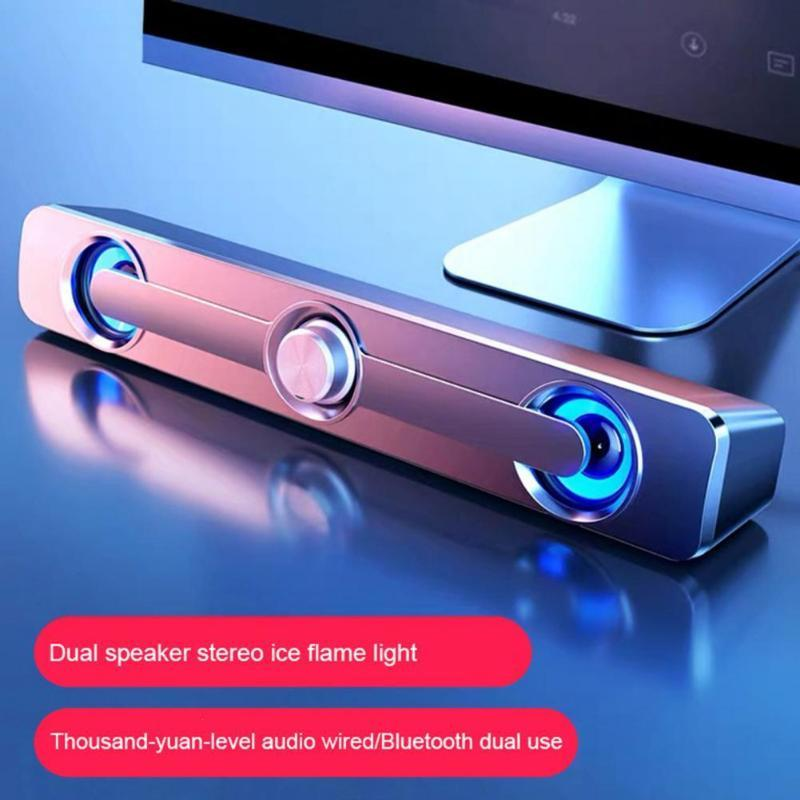 Bluetooth/Wired Speakers LED Light Stereo Bass Subwoofer Speaker With USB Power Supply Bluetooth Speakers For Computer TV Phone