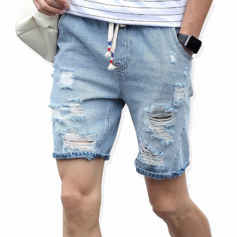Новые Моды Досуг Люди Разорвал короткие джинсы Бренд Одежда Летние 98% Кошка Дыхание Джинсовые Шорты Мужской