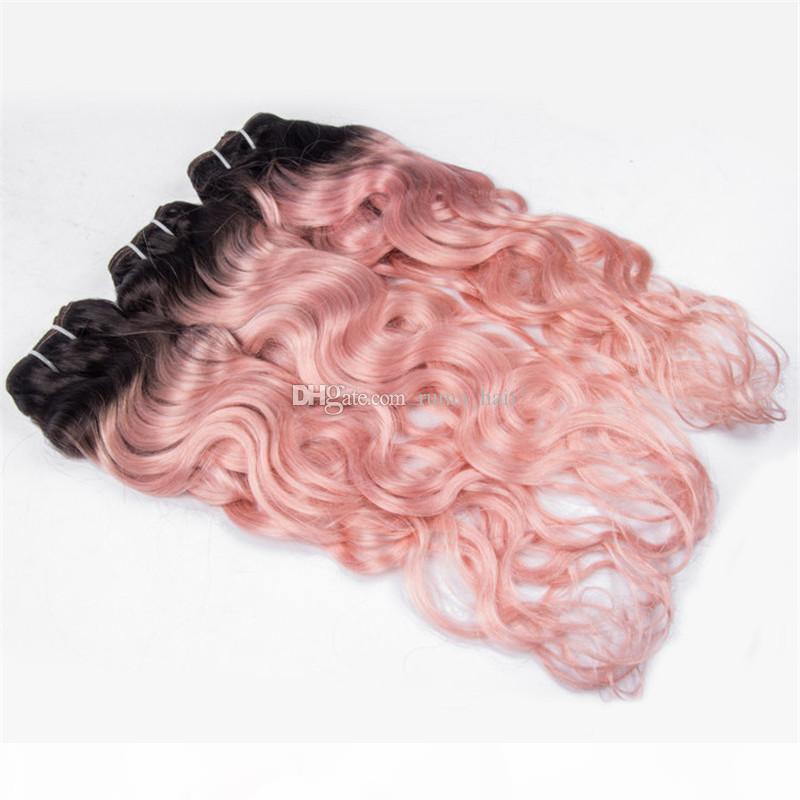 Cabelo humano cor-de-rosa tece dois tons 1b cor-de-rosa molhados extensões de cabelo ondulado 3 pcs lote ombre onda profunda pacotes de cabelo virgem peruana