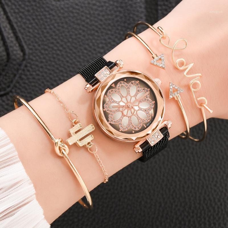 Señoras magnética de lujo estrellado del cielo del reloj 5pcs / set Reloj de pulsera de moda de diamantes mujer de pulsera de cuarzo Relogio Femenino A37691