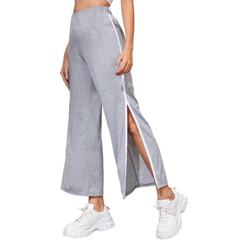 Pantalones para mujer Capris 2021 Ladies de verano Color Pantalones a juego Pantalones laterales sueltos Sports Casual Sports Daily Wear