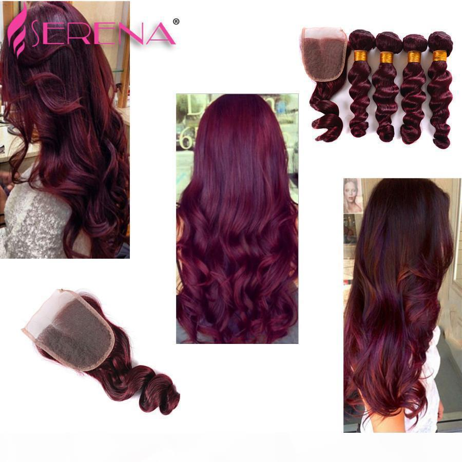 Extensiones de cabello rojo Brasileño Indio peruano Indio Malasia Red Human Hair 99J Cabello Borgoña Barazilian Ola suelta 5pcs Borgoña Tejidos