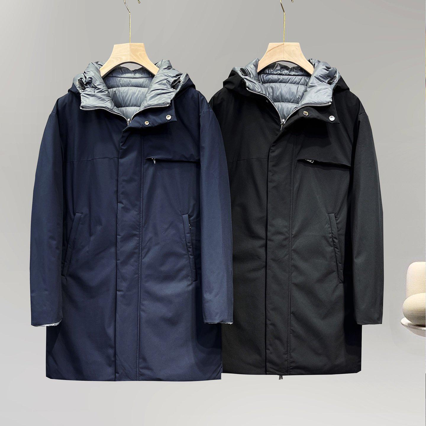 Italian Luxury P Double-sided Hooded Fabric Parka Casual Down Coats Mens Stylist Outdoor Warm Jacket High Quality Winter Coat Large Size