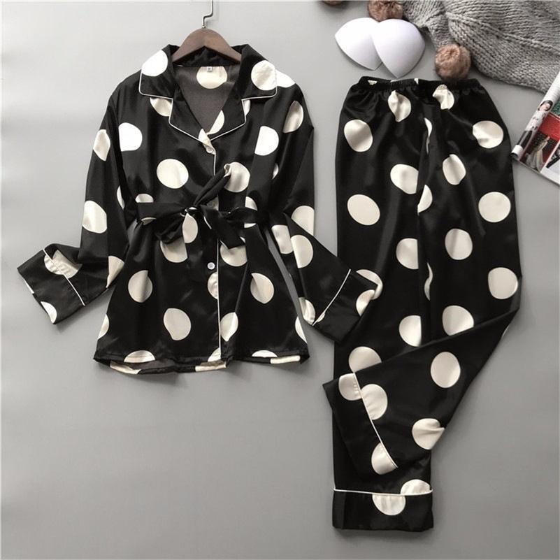 Silk Pajamas Set Women Sexy Print Dot Summer Female Pyjamas Long Shirt /Set Stitch Lingerie Home Sleepwear LJ200921